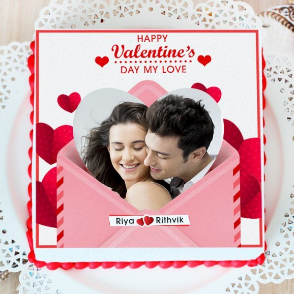 Valentine Couples Photo cake