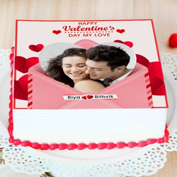 Valentine Couples Photo cake - Zoom View