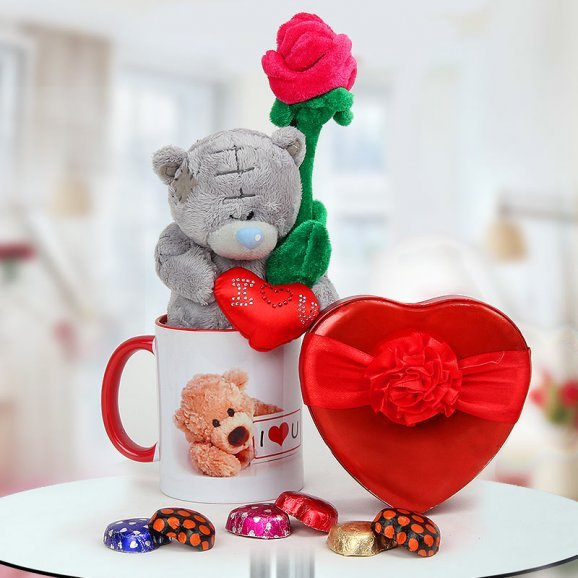A combo of 6 inches teddy and I Love You mug and a box of chocolates