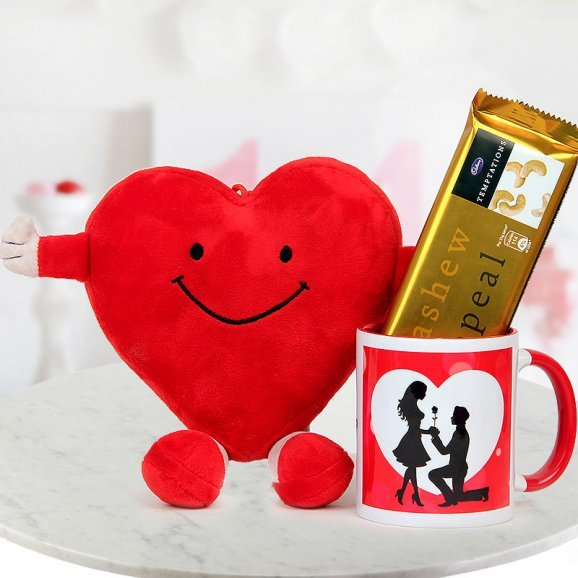 Will You Be My Valentine Coffee Mug one Temptations and one heart shaped red smiley pillow