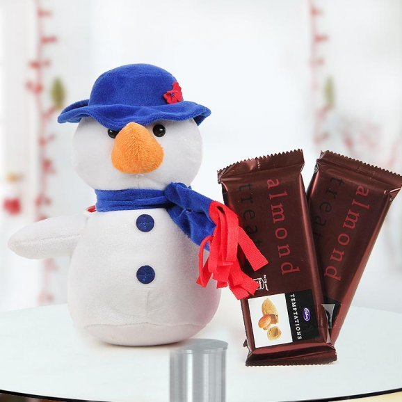 Christmas hamper of an 8 inches cuddly soft snowman with two flavors of Cadbury temptations