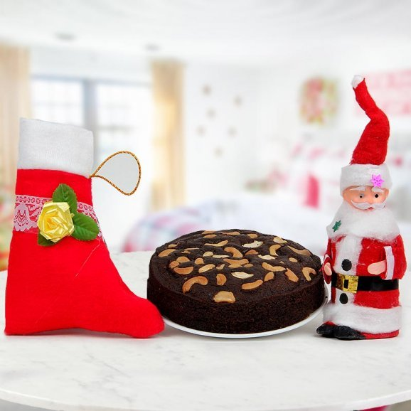Red Christmas socks and 1/2 kg rich plum cake and a 6 inches Santa Miniature