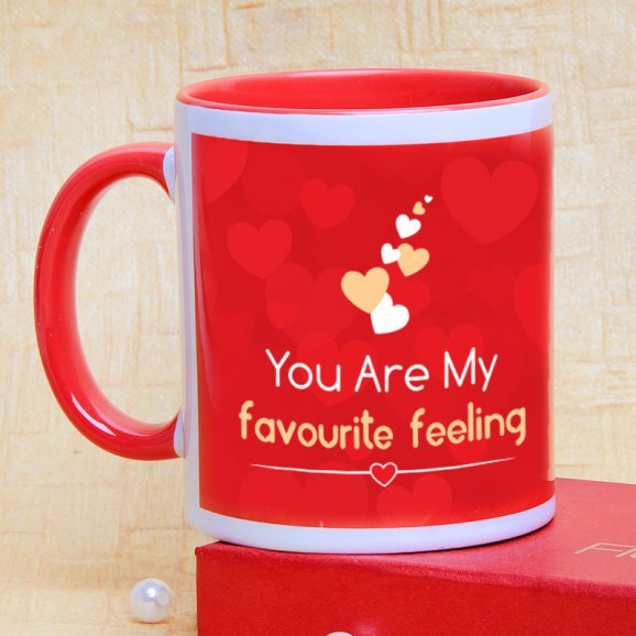 Favorite Feeling Couple Mug with Back Sided View
