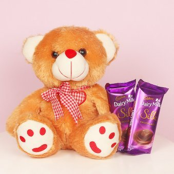 Twelve Inch Teddy With Two Silk Chocolate