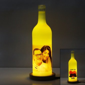 Fathers Day Personalised Lamp with Lighting and Front View