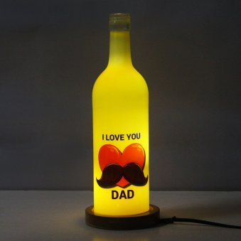 Fathers Day Personalised Lamp with Lighting and Back View