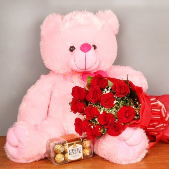 Heartfelt Hugs - Combo of 22 inch teddy, 12 red roses and 16 ferrero rocher
