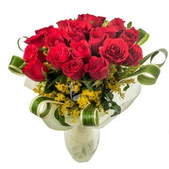 Beautiful 24 Red Roses in Glass Vase