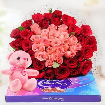 30 Red Roses and 20 Pink Roses with a 6 Inch Teddy with a Pack of Cadbury Celebrations