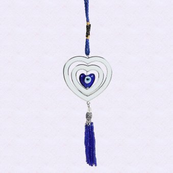 Feng shui good luck charm ornament having heart on heart with blue and silver theme