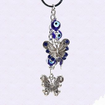 Butterfly good luck charm ornament with blue and silver theme