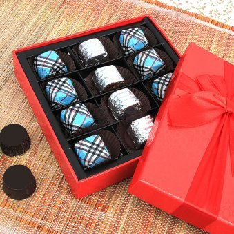 12 handmade chocolates packed in a box