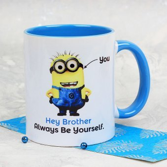 A Delightful My Brother Is One In Minion Mug With Front Sided View