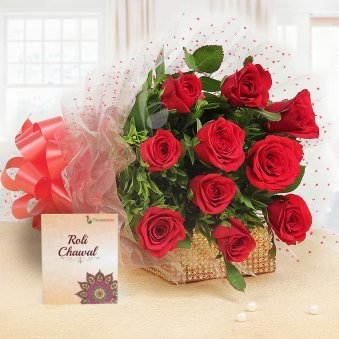 10 Red Roses with Roli Chawal