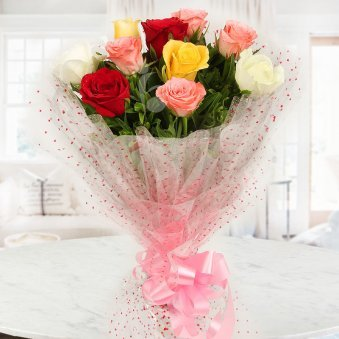 Front view of 10 mixed roses - A gift of Sisterly Affection Rakhi Gift Hamper