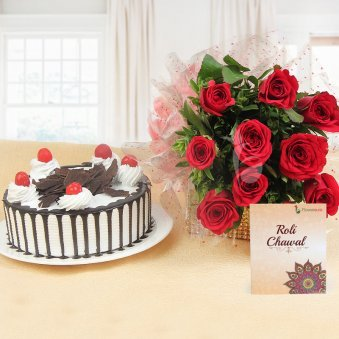 Treasured Bond - Combo of 10 red roses with Half kg Black Forest cake and a pack of Roli & Chawal