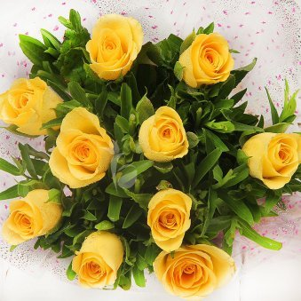 Top view of 10 yellow roses - A gift of Love Filled Dedication