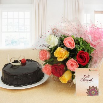 Amazing brother Hamper - Mixed roses with Chocolate Truffle Cake and a pack of Roli & Chawal