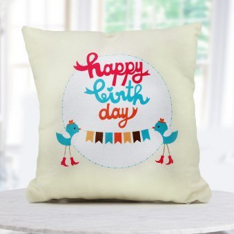"""""""Happy Birthday"""" quoted a 12x12 cream color cushion for that special day of one"""