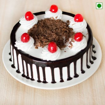 Eggless Black Forest Cake - Top View