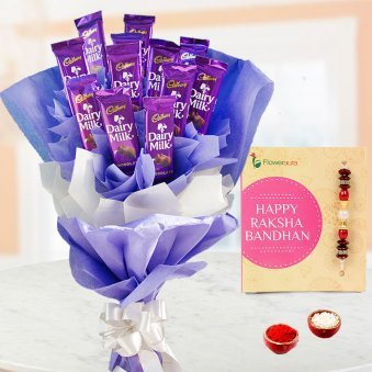 Rakhi along with Dairy milk chocolate bouquet and Roli tikka