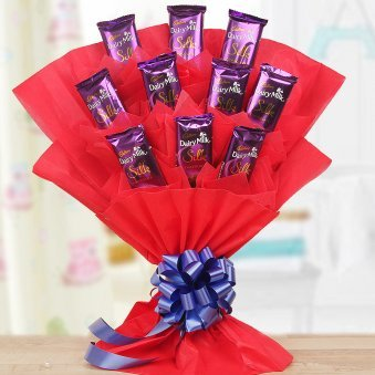 Silky Love Bouquet - Bouquet of 10 Dairy Milk Silk Chocolates