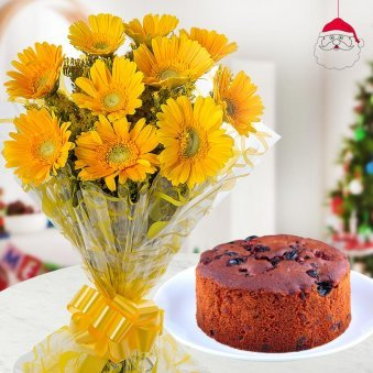 Pleasant combo of 10 yellow gerberas and a 1/2 kg Christmas-perfect plum cake