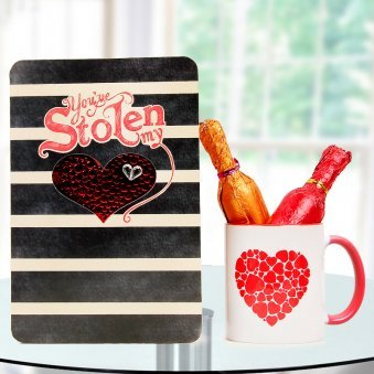 A Coffee Mug with Two Bottles of Wine Chocolate and A Secret Admirer Card