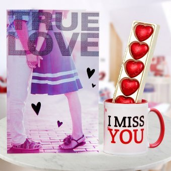 A True Love Card with pack of heart-shape chocolates and Miss You Coffee Mug
