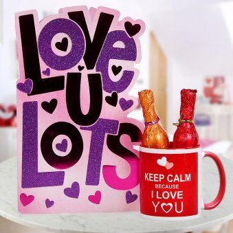 Love You Lots card Two champagne bottles of chocolates and A Coffee Mug