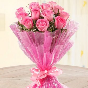 Front view of bunch of 12 pink roses - A gift of Crazy For Pink And You