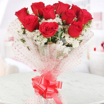 Bunch of 12 Red Roses - Part of Cuddly Roses Combo