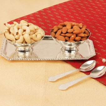 A Silvery Delight - Set of Silver Plated Bowl Tray & Spoons with Dry Fruits