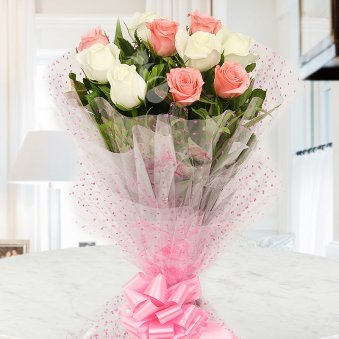 Front view of 10 white and 10 pink roses bouquet - First gift of An Alluring Hamper