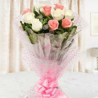 Front view of 10 white and red roses bouquet - Part of A Nectarous Delight Combo