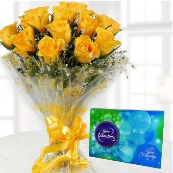 Combo of 12 Yellow Roses and Cadbury Chocolate