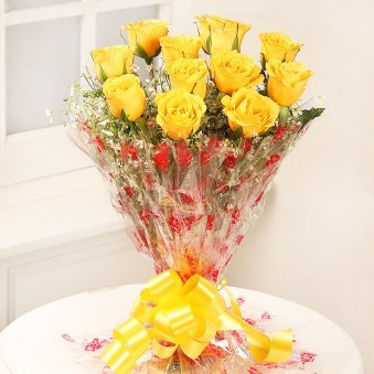 Caring Heart Bunch Of 12 Yellow Rose flowers - delivery in Delhi