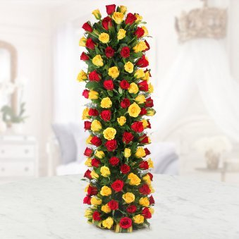50 Red Roses and 50 Yellow Roses Arrangement