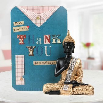 Thank you Papa greeting with buddha god idol - A combo gift for fathers