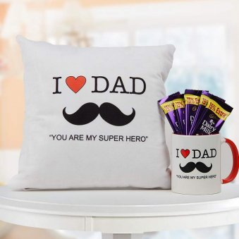 Dad you are my Super Hero Quoted Cushion & Mug with 5 Dairy Milk Chocolates