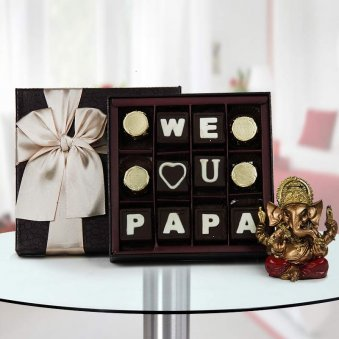 We love you papa quoted handmade chocolate with Ganesha god idol - A gift for father