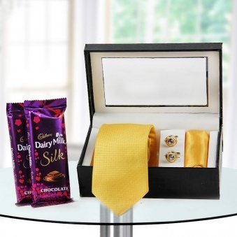 Yellow tie, yellow pocket square, cuff links with two silk chocolate - exclusive gift for fathers