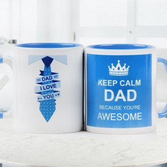 Keep Calm Dad Quoted Printed Duotone Mug with Both Sided View