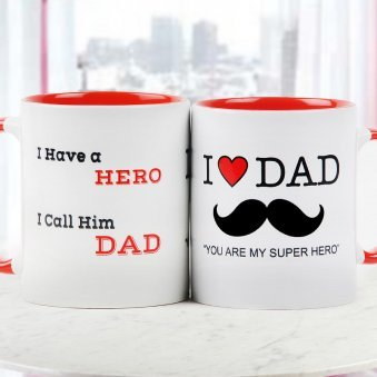 Dad you are My Super Hero Quoted Duotone Mug for Fathers Day with Both Side View