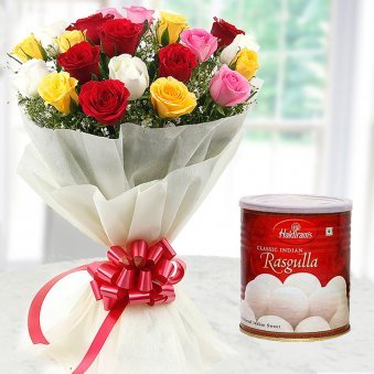 20 Mixed flowers with 1 kg Haldiram's Rasgulla