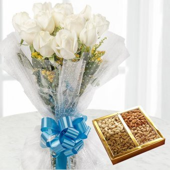 12 White rose flowers with 1/2 kg dry fruits