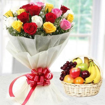 20 Mixed flowers with 2 kg fruit basket