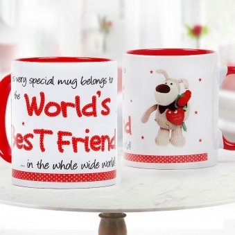 Worlds Best Friend Quoted Duotone White and Red Mug with Both Sided View