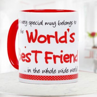 Worlds Best Friend Quoted Duotone White and Red Mug