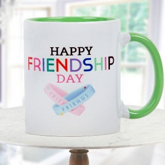 Happy Friendship Day Quoted Duotone White and Green Mug